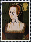 A stamp printed in Great Britain shows Anne Boleyn, wife of king Henry VIII — Stock Photo