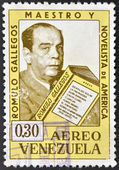 A stamp printed in Venezuela showing a Romulo Gallegos portrait, teacher and novelist — Stock Photo