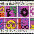 GERMANY - CIRCA 1968: stamp printed in Germany shows German Federal Republic Crafts and Trades, trade symbols, circa 1968. - Stock Photo