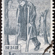 BELGIUM - CIRCA 1969: A stamp printed in Belgium dedicated to 50th Anniv of National War Invalids Works (O.N.I.G.). Wounded Soldier, circa 1969 - Stock Photo