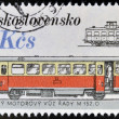 CZECHOSLOVAKIA - CIRCA 1986: A stamp printed in Czechoslovakia shows streetcars, circa 1986 - Stock Photo
