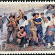 NORTH KOREA - CIRCA 1990: A stamp printed in North Korea shows soldiers reuniting with families, circa 1990 — Stock Photo