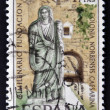 Royalty-Free Stock Photo: SPAIN-CIRCA 1967: A stamp printed in Spain shows a picture of a Roman matron and the Arc of Christ, two thousandth anniversary of the founding of the Romans Caceres, circa 1967.