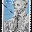 SPAIN-CIRCA 1966: A stamp printed in Spain shows a portrait of Andres Segovia Lagoon doctor of Emperor Charles V,circa 1966. — Stock Photo