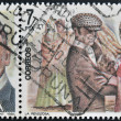 "SPAIN-CIRCA 1984:Two stamps printed in Spain shows the portrait of Roberto Chapi composer and a scene of the operetta "" la Revoltosa"", circa 1984. — Stock Photo"