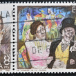"SPAIN-CIRCA 1981:Two stamps printed in Spain shows the portrait of Tomas Breton composer and a scene from the operetta ""verbena de la Paloma"", circa 1981. — Stock Photo"