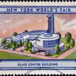 UNITED STATES OF AMERICA - CIRCA 1939: A stamp printed in USA dedicated to new york world's fair 1939, shows glass center building, circa 1939 — Stock Photo