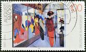 """Tyskland - ca 1992: stämpel tryckt i Tyskland showsthe målning """"butik"""" av augusti macke (1887-1914), ca 1992. — Stockfoto"""