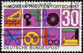 GERMANY - CIRCA 1968: stamp printed in Germany shows German Federal Republic Crafts and Trades, trade symbols, circa 1968. — Stock Photo