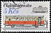 CZECHOSLOVAKIA - CIRCA 1986: A stamp printed in Czechoslovakia shows streetcars, circa 1986 — Stock Photo