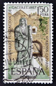 SPAIN-CIRCA 1967: A stamp printed in Spain shows a picture of a Roman matron and the Arc of Christ, two thousandth anniversary of the founding of the Romans Caceres, circa 1967. — Stock Photo