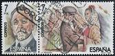 "SPAIN-CIRCA 1984:Two stamps printed in Spain shows the portrait of Roberto Chapi composer and a scene of the operetta "" la Revoltosa"", circa 1984. — 图库照片"