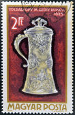 HUNGARY - CIRCA 1970: A stamps printed in Hungary showing an ornate silver jug of 1623, circa 1970 — Stock Photo