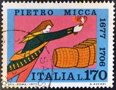 Italia - alrededor de 1970: un sello impreso en italia muestra pietro micca, circa 1970 — Foto de Stock