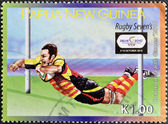 PAPUA NEW GUINEA - CIRCA 2010: A stamp printed in Papua New Guinea dedicated to Rugby, circa 2010 — Stock fotografie