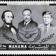 AJMAN - CIRCA 1974: Stamp printed in Ajman in memory of Martin Luther King, Human Rights, circa 1974 - ストック写真