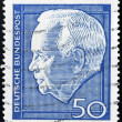 GERMANY - CIRCA 1964 A stamp printed in Germany shows Heinrich Lubke Karl, was President of the Federal Republic of Germany, circa 1964 - ストック写真