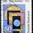 GERMANY - CIRCA 1991: stamp printed in Germany, dedicated to Erich Buchholz painter and architect, circa 1991. - Stock Photo
