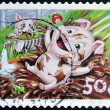 AUSTRALIA - CIRCA 2005: stamp printed in Australia shows Pigs and frog, circa 2005 — Stock Photo