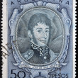 ARGENTINA - CIRCA 1954: A stamp printed in Argentina shows General Jose De San Martin, circa 1954 - ストック写真