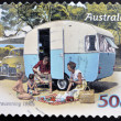 AUSTRALIA - CIRCA 2007: A stamp printed in australia shows Family enjoying a caravan of the 50s, caravanning 1950s, circa 2007 - ストック写真