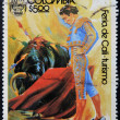 Stock Photo: COLOMBI- CIRC1980: stamp printed in Colombidedicated to Cali Fair - tourism, shows bullfight, circ1980