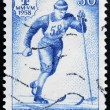 FINLAND - CIRCA 1958: A stamp printed in Finland shows Nordic ski, circa 1958 — Stock Photo