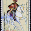 "LEBANON - CIRCA 1973: A stamp printed in Lebanon from the ""Ancient costumes"" issue shows a man on horseback, circa 1973. - ストック写真"