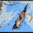 UNITED KINGDOM - CIRCA 2002: A stamp printed in Great Britain shows captain Hook. Stamp dedicated to Peter Pan, circa 2002 - ストック写真