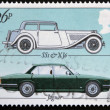 Stock Photo: UNITED KINGDOM - CIRC1982: Stamp printed in Great Britain showing Jaguar motor vehicle model SS1 and XJ6 to commemorate British Motor Industry, circ1982.