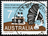 AUSTRALIA - CIRCA 1973: A Stamp printed in Australia shows the Radio and Gramophone Speaker, Broadcasting in Australia, circa 1973 — Stock Photo