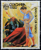 COLOMBIA - CIRCA 1980: A stamp printed in Colombia dedicated to Cali Fair - tourism, shows bullfight, circa 1980 — Stock Photo
