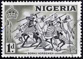 NIGERIA - CIRCA 1946: A stamp printed in Nigeria shows image of Bornu horsemen, circa 1946 — Stock Photo