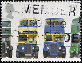 UNITED KINGDOM - CIRCA 2001: A stamp printed in Great Britain shows AEC Regent 1, Daimler COG5, Utility Guy Arab Mk II and AEC Regent III RT Type, circa 2001 — Stock Photo