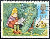 联合王国-大约 1994年: 在英国打印戳记表明,脑袋和冰龙,大约在 1994年 — 图库照片