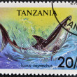 TANZANIA - CIRCA 1993: A stamp printed in Tanzania shows shortfin mako shark, Isurus oxyrinchus, circa 1993 — Stock Photo