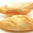Two white breads and wheat spike — Foto de Stock