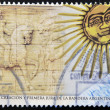 Stock Photo: ARGENTIN- CIRC2012 stamp printed in Argentindedicated to bicentenary of creation and first pledge of allegiance Argentina, circ2012