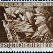 GERMAN REICH - CIRCA 1944: A stamp printed in Germany shows image of Adolf Hitler, circa 1944 - Stock Photo