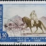 PERU - CIRCA 1958: A stamp printed in Peru dedicated to Peruvian Exhibition Paris shows Chalan with Peruvian Paso Horse, circa 1958 — Stock Photo #18372417