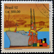 BRAZIL - CIRC1992: stamp printed in Brazil shows Port of Santos, circ1992 — Stock Photo #18370299