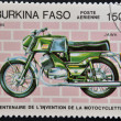BURKINA FASO - CIRCA 1985: A stamp printed in Burkina Faso showing vintage motorcycle, Jawa, circa 1985 — Stock Photo
