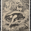 "Stock Photo: CZECHOSLOVAKI- CIRC1973: stamp printed in Czechoslovakishows draw ""August Noon"" by Max Svabinsky, circ1973"