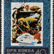 NORTH KOREA - CIRCA 1980: Stamp printed in DPR Korea dedicated to the conqueror of the sea, shows Jacques Cousteau - Stock Photo