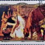 NORTH KOREA - CIRCA 1984: A stamp printed in DPR Korea commemorates the 150th anniversary of the birth of the painter Degas, circa 1984 — Stock Photo