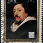 NORTH KOREA - CIRCA 1990: A stamp printed in DPR Korea shows self-portrait by Peter Paul Rubens, circa 1990 — Stock Photo #18370879