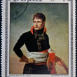 CUBA - CIRCA 1969: Stamp printed in Cuba dedicated to Artworks Napoleon Museum, shows Bonaparte in Milan by Andrea Appiani, circa 1969 - 图库照片