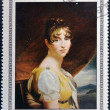 CUBA - CIRCA 1969: Stamp printed in Cuba dedicated to Artworks Napoleon Museum, shows Hortense de Beauharnais by Francois Gerard, circa 1969 - 图库照片