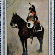 CUBA - CIRCA 1969: Stamp printed in Cuba dedicated to Artworks Napoleon Museum, shows Brigadier Cuirassiers by Jean Meissonier, circa 1969 - Stockfoto