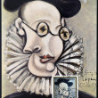 "SPAIN - CIRCA 1978: A stamp printed in Spain shows the painting ""Portrait of Jaime Sabartes"" by Pablo Picasso, circa 1978 — Stock Photo"